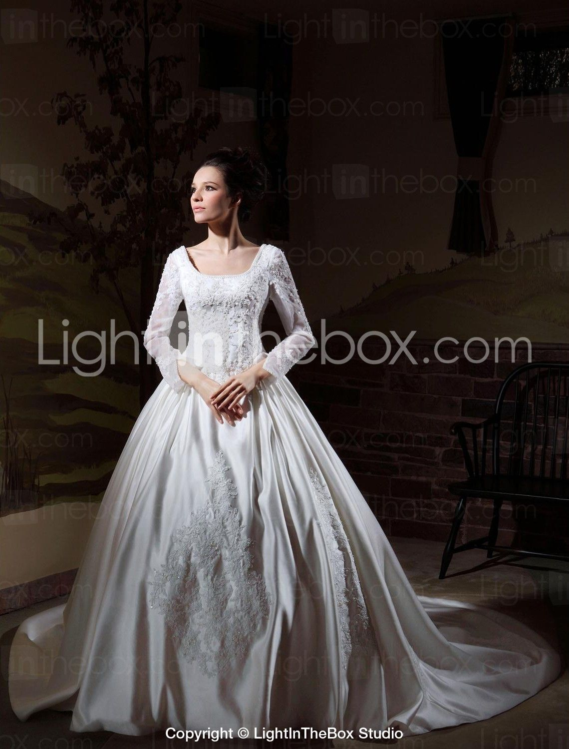 Ball gown square neck cathedral train satin madetomeasure wedding