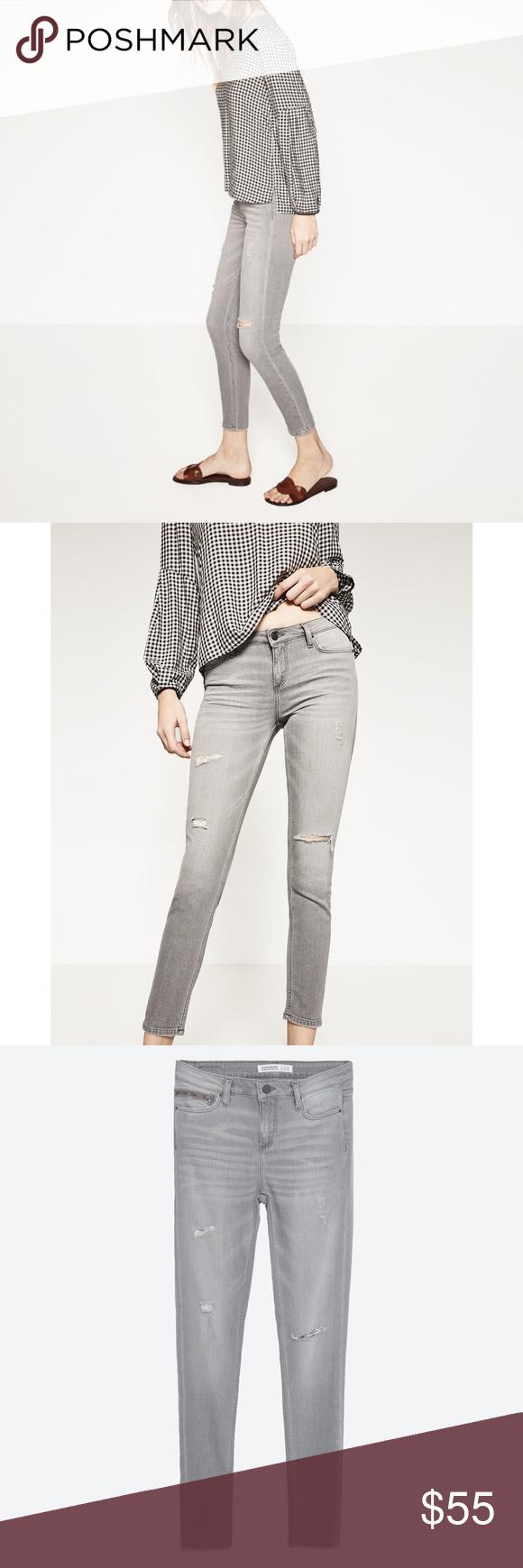 d886933a4a9 NWT ZARA Gray Distressed Holes Skinny Jeans ♡ ZARA Basic Department Denim  Z1975 Light Wash Gray