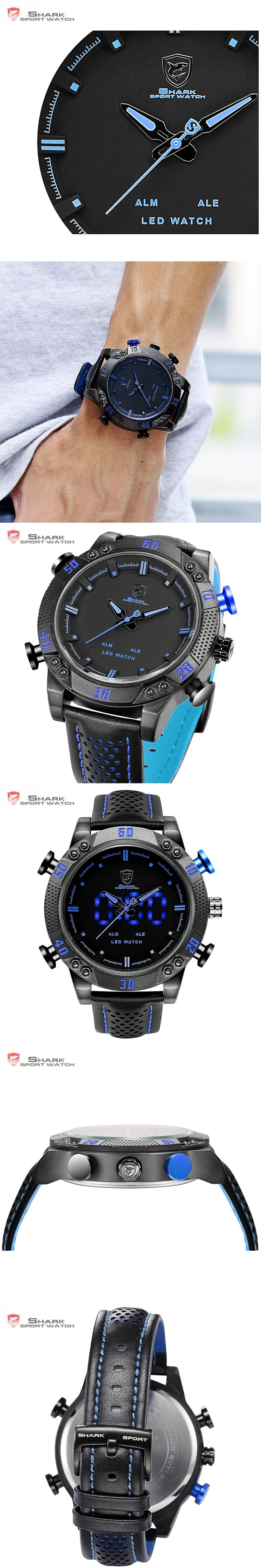 7c437641c89 Kitefin Shark Sport Watch Blue LED Back Light Auto Date Display Leather  Strap Quartz Digital Outdoor
