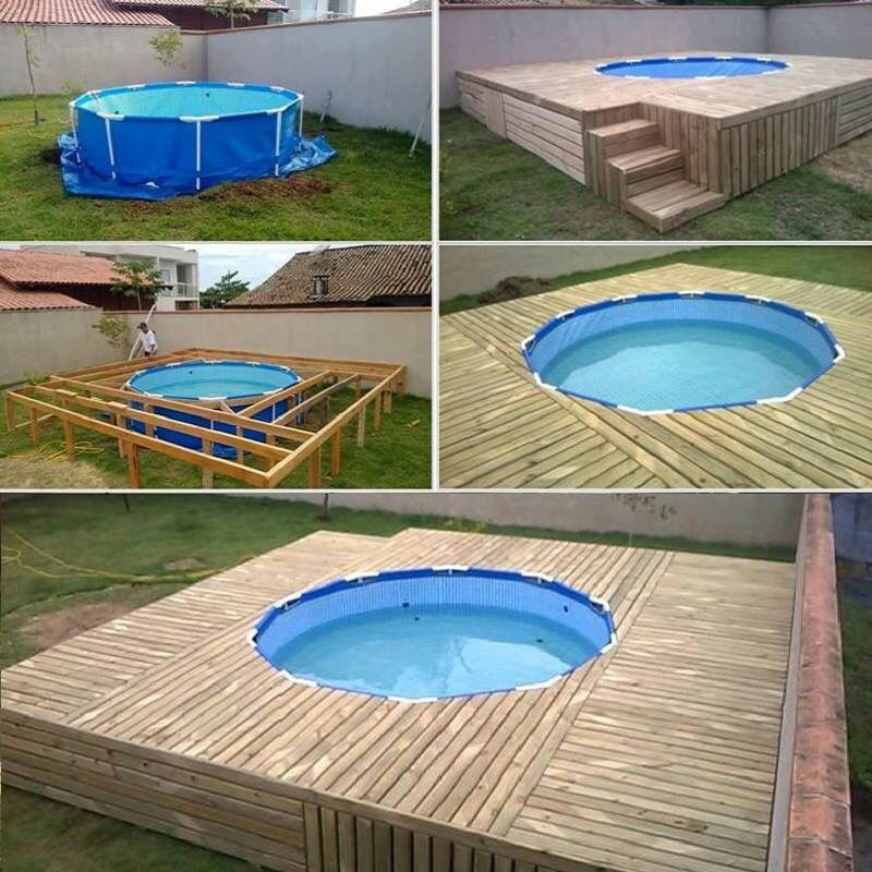 Pallet pool deck outside pinterest pallet pool for Diy small pool