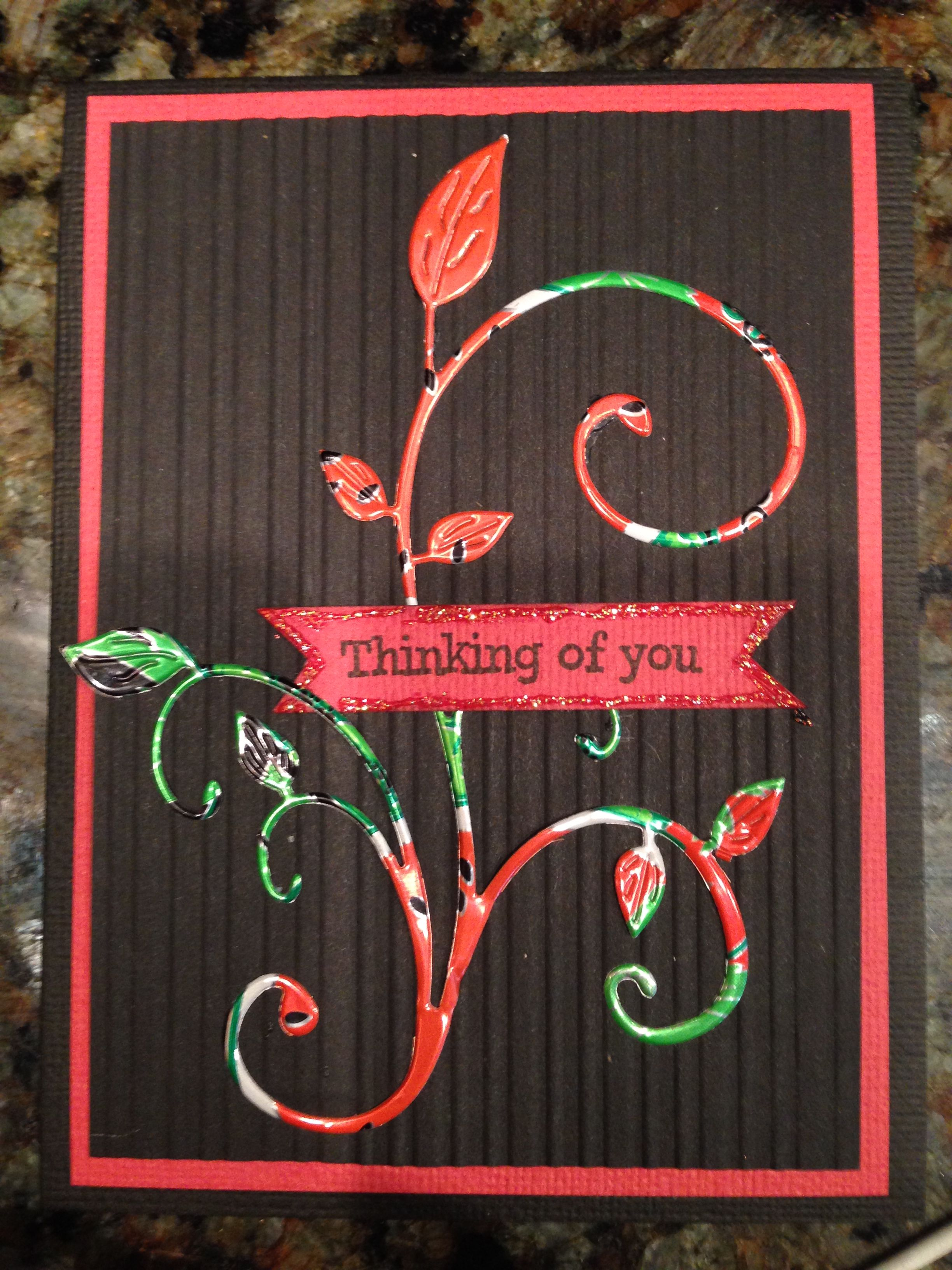 Thinking of you card - used an AZ drink watermelon flavored aluminum can and cut out the shape with a cheery lynn die cut.