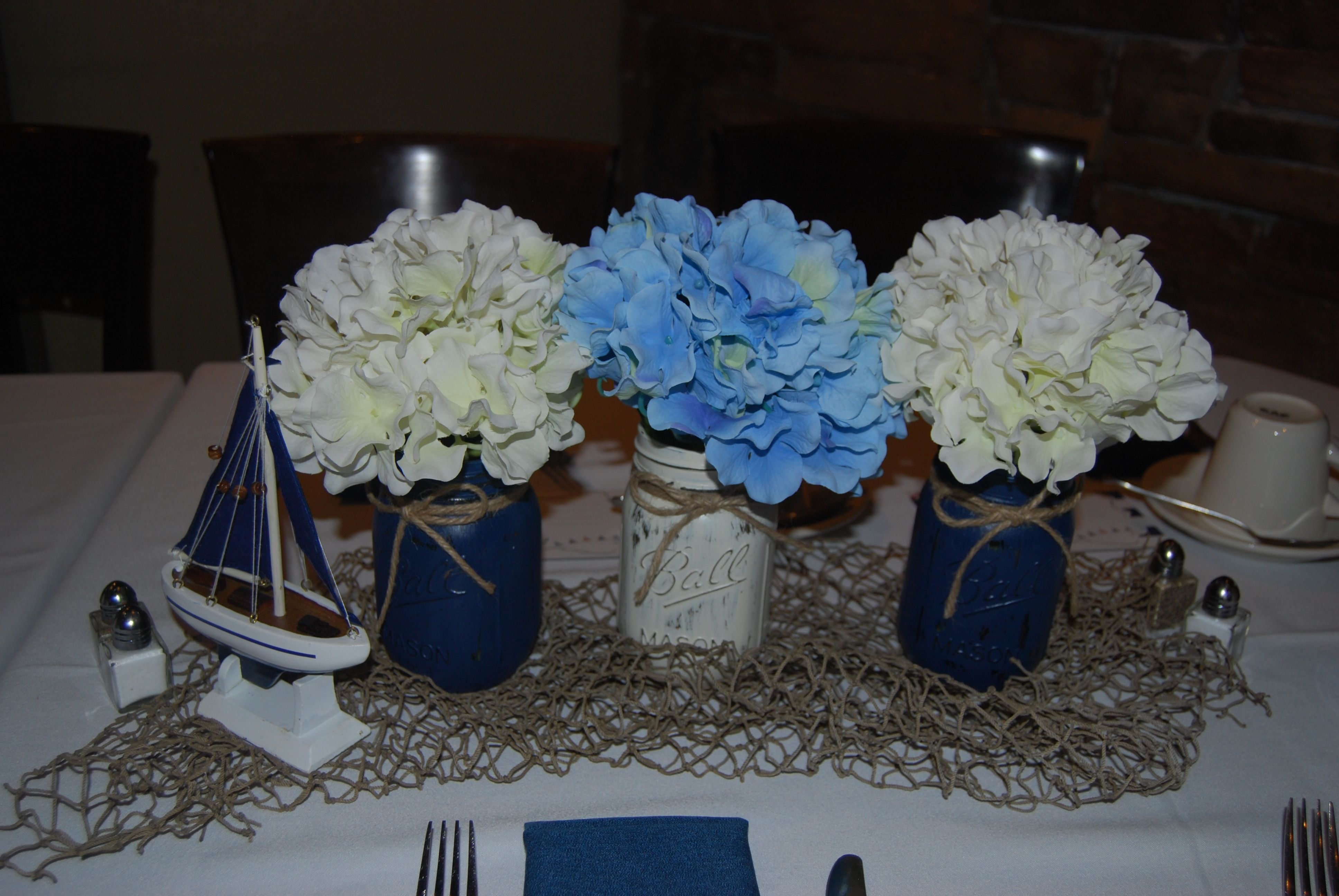 Nautical Baby Shower Table Centerpieces Mason Jars Ships And Fish