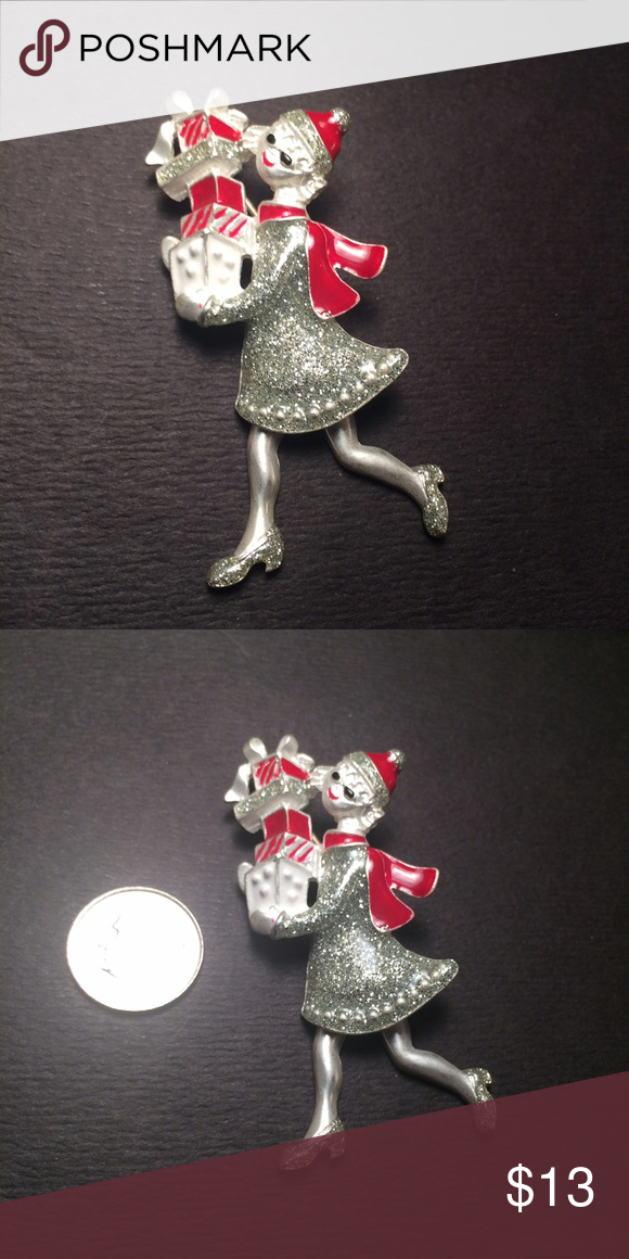 Holiday Shopper Brooch Excellent condition. Her legs move. Jewelry Brooches