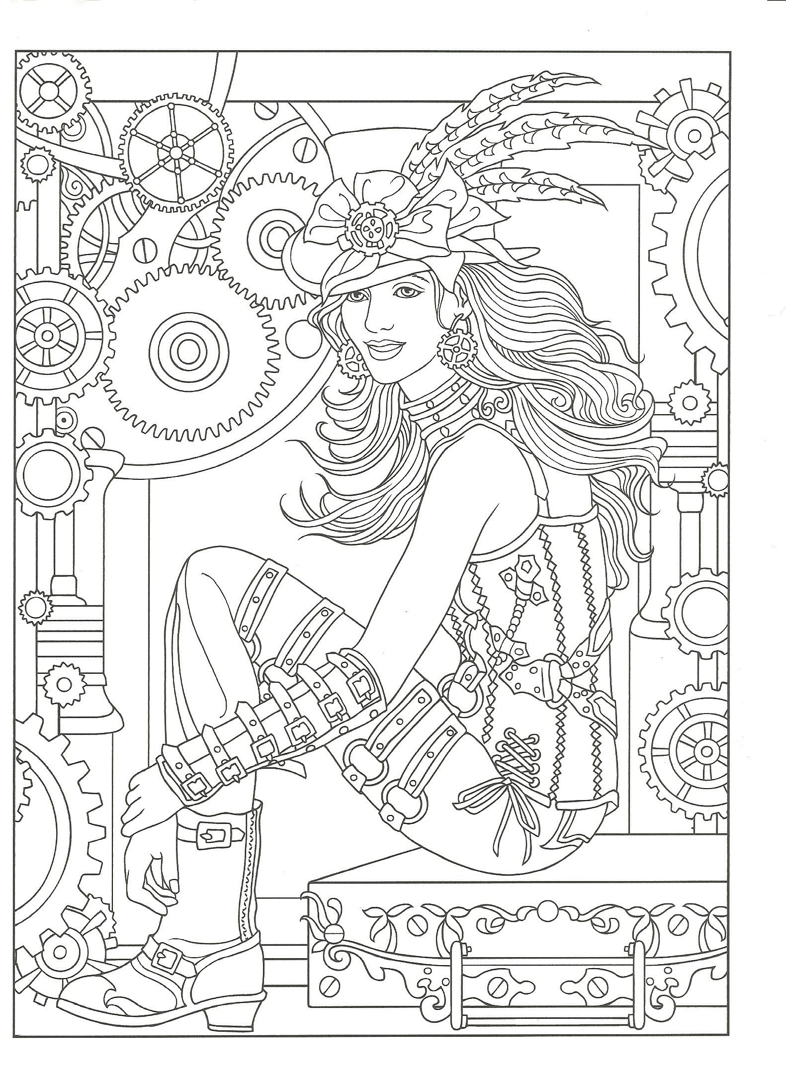 Adult Coloring Page From Creative Haven Steampunk Fashions Book Dover Publications Artwork By