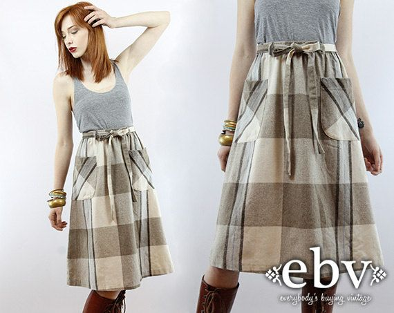 Vintage 70s Taupe Plaid Knee Length Skirt S M L Plaid by shopEBV, $38.00