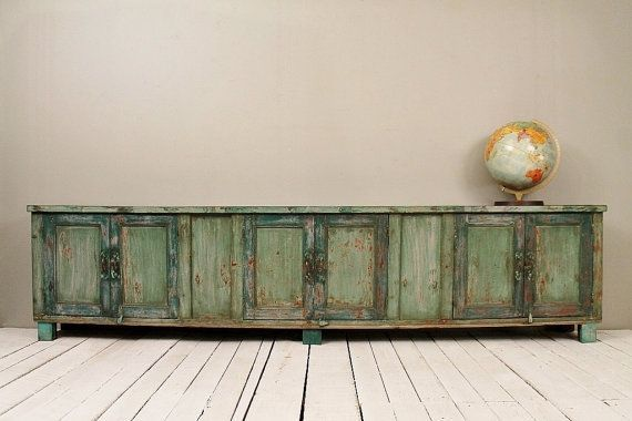 Merveilleux Long And Low Reclaimed Antique Sideboard Media Console Tv Stand Low Console  Table
