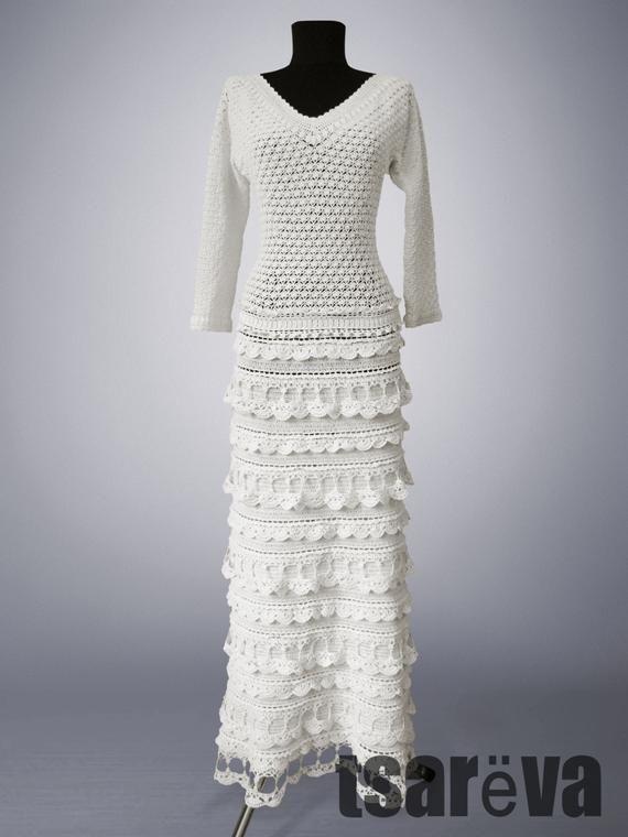 50decc4395fda Crochet dress Diana. White maxi handmade women wedding or special ...