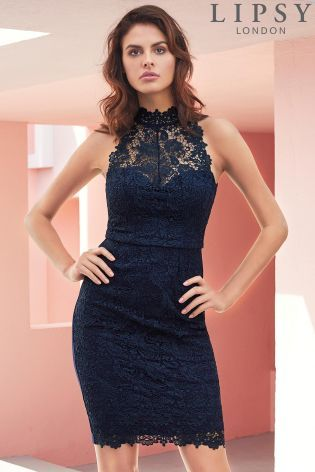 c614735d9394 Buy Lipsy Lace High Neck Bodycon Dress from the Next UK online shop ...