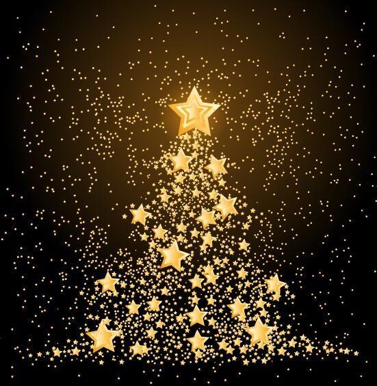 Golden Stars With Christmas Tree Vector Material Weihnachtsbaum Ideen Weihnachten Bilder Weihnachtsstern