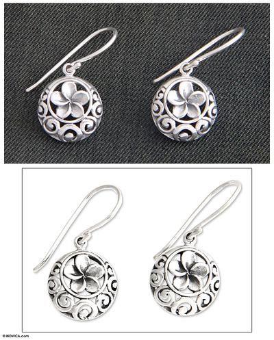 Sterling silver flower earrings, 'Loyal Promise' - Unique Sterling Silver Flower Earrings