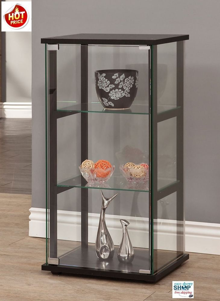 Details about curio cabinet glass storage display shelf - Glass corner shelf for living room ...