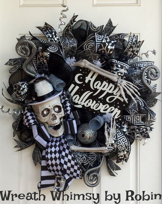 halloween skeleton black silver deco mesh wreath skeleton decor fall wreath halloween decor. Black Bedroom Furniture Sets. Home Design Ideas