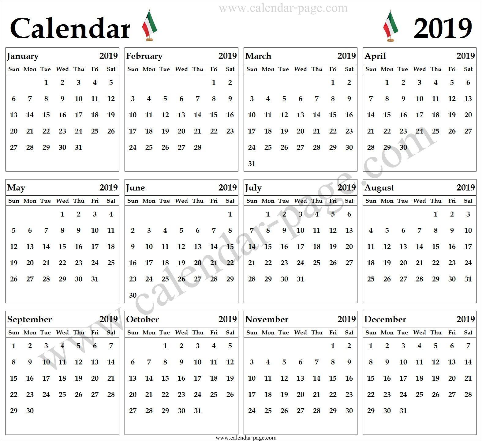Kuwait Calendar 2019 Blank 2019 Calendar Pdf 2019 Calendar