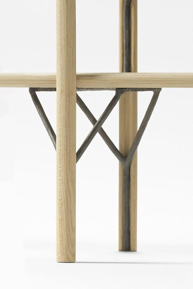 A Close Up View Of Kea Shelves In Solid Oak And Wrought Iron Design Iratzoki Lizaso Furniture Decor Furniture Design