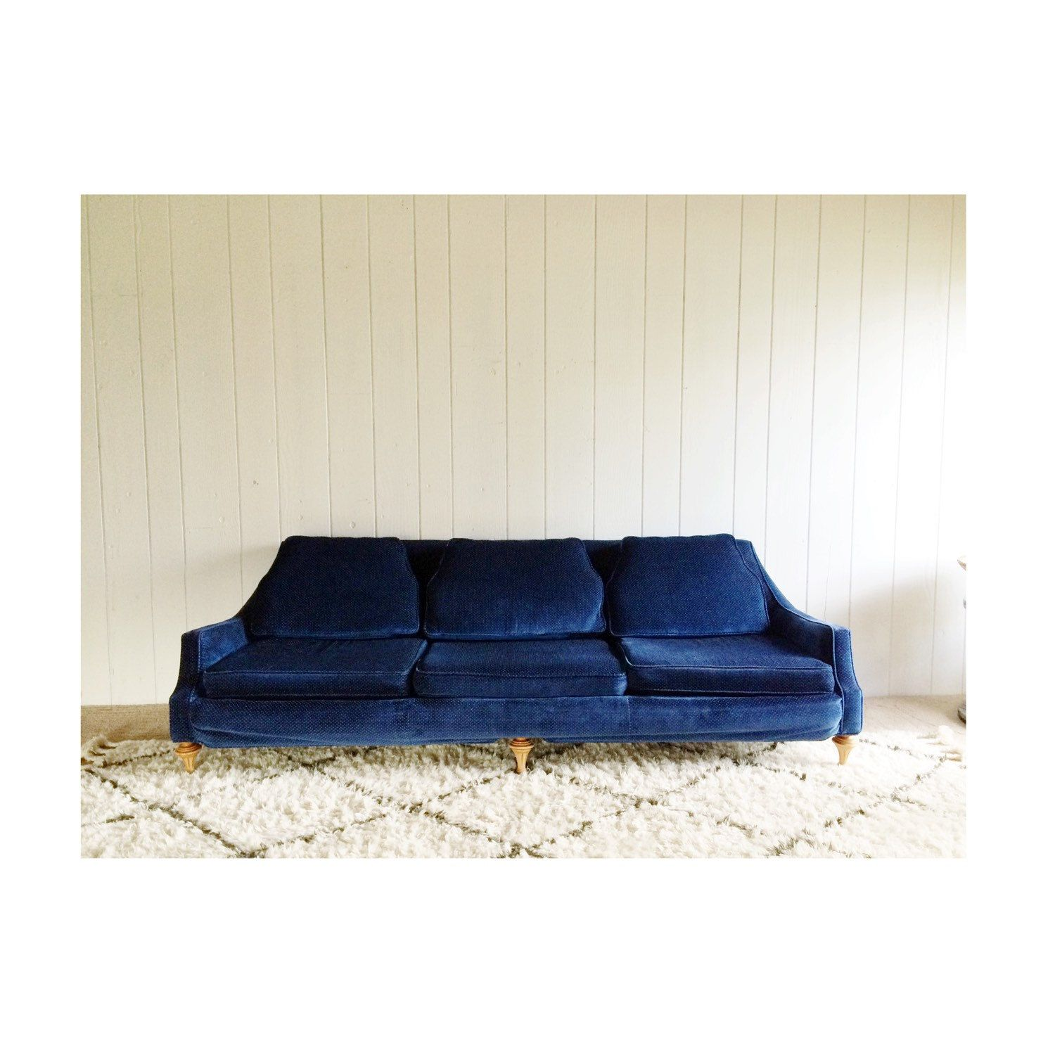Retro Navy Blue Velvet Couch By MidCenturyTeak (750.00 USD)