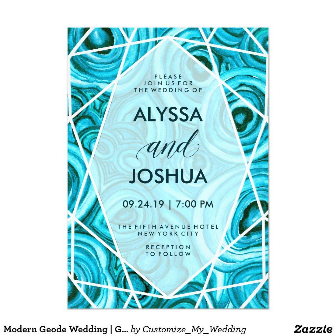 Modern Geode Wedding | Geometric Turquoise Blue Malachite Invitation