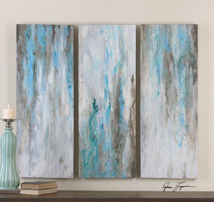 Wall Art Abstract Painting Bluegrey Set Of 3 Relaxation Room
