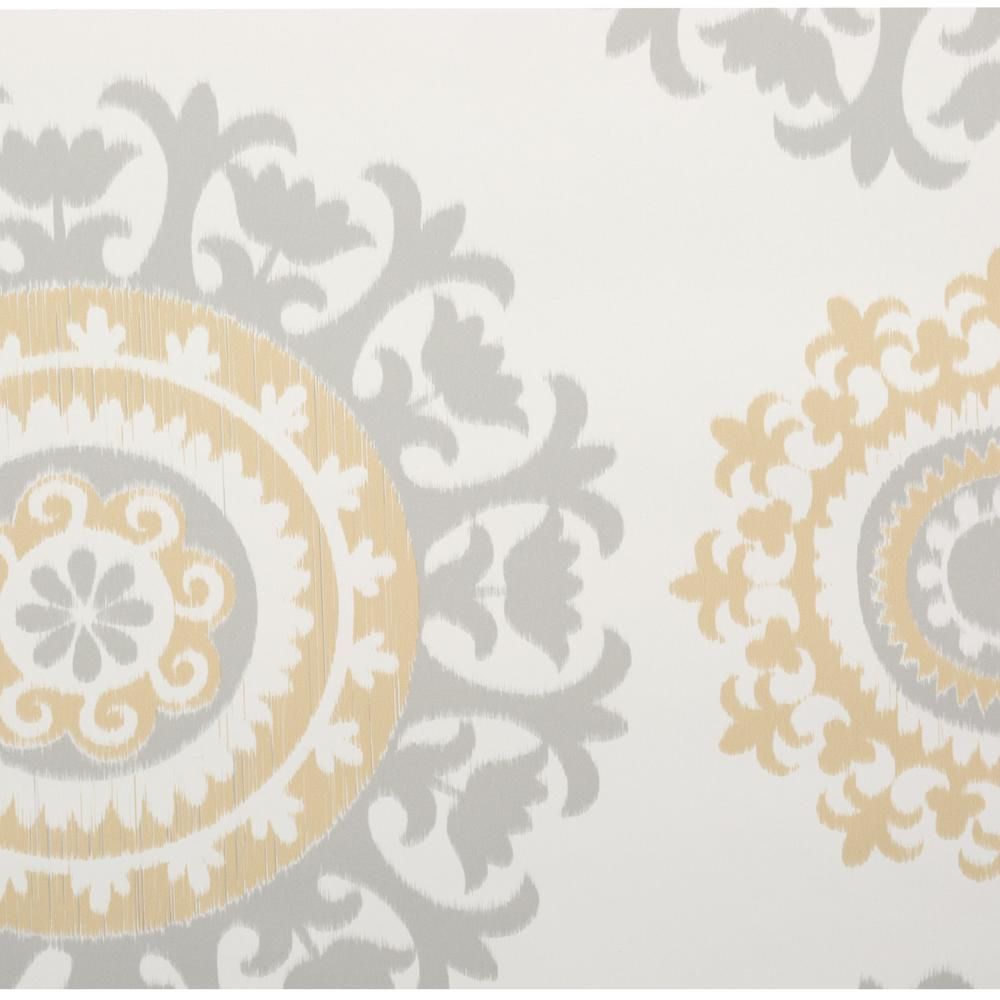 Nuwallpaper Grey And Yellow Suzani Vinyl Strippable Wallpaper Covers 30 75 Sq Ft Nu1652 The Home Depot Suzani Peel And Stick Wallpaper Wallpaper