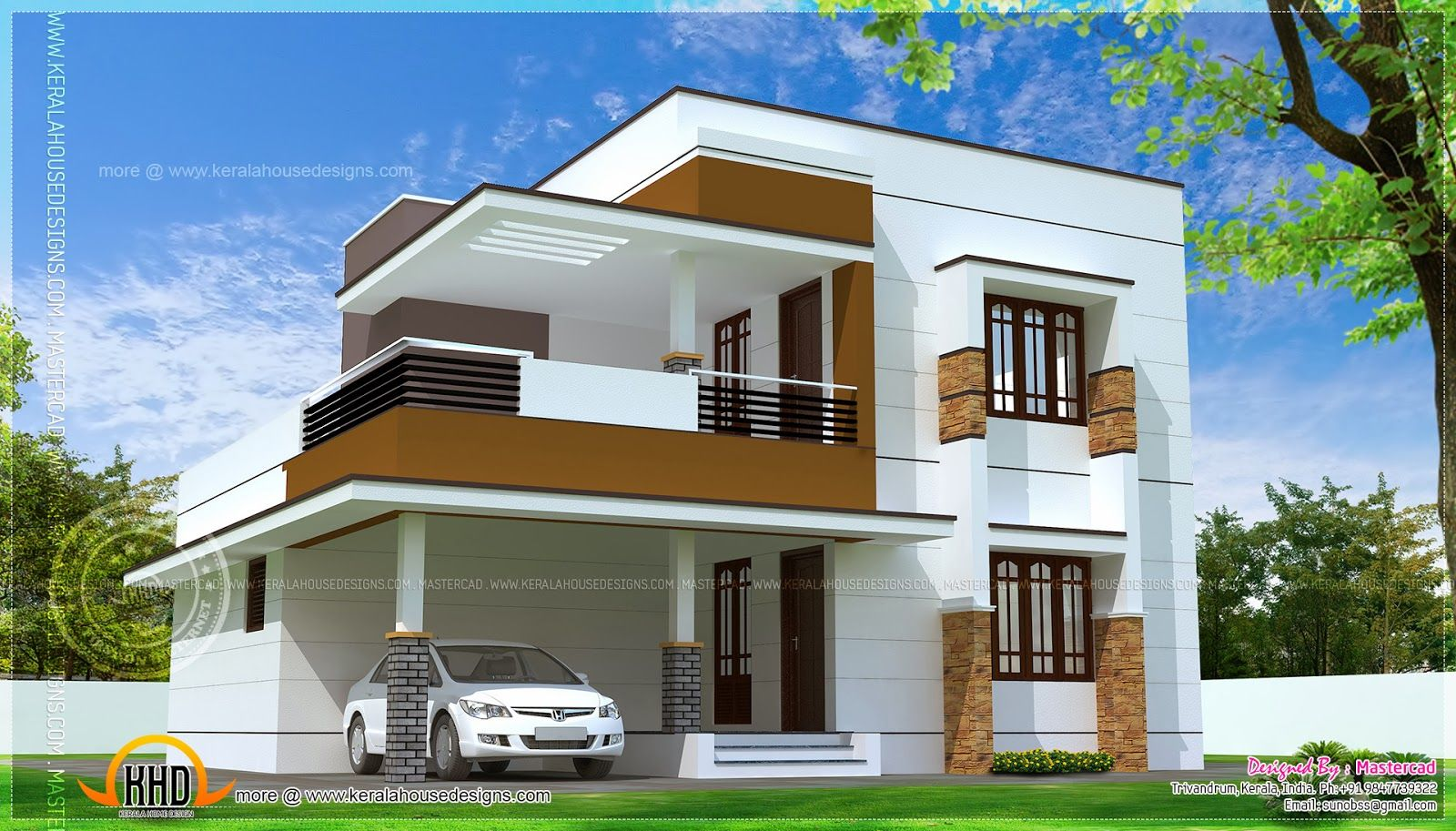 Simple Exterior House Designs In Kerala 3d front elevation design, indian front elevation, kerala style