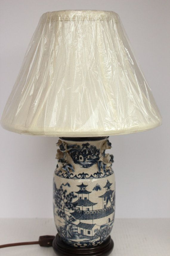 Beautiful Oriental Unique Blue And White Porcelain Table Lamp Blue Willow Design With Lamp Shade Lamp Lamp Shade Asian Lamps
