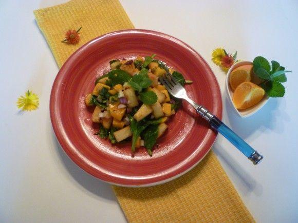 Salada Tropical com Manga e Abacaxi Grelhados