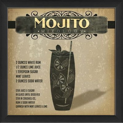 The Artwork Factory Mojito Mixology Framed Graphic Art Mixology Mojito Artwork