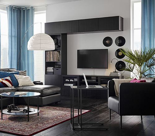 besta meubles tv brun noir salon ikea maison pinterest tentures d co salon et salon. Black Bedroom Furniture Sets. Home Design Ideas
