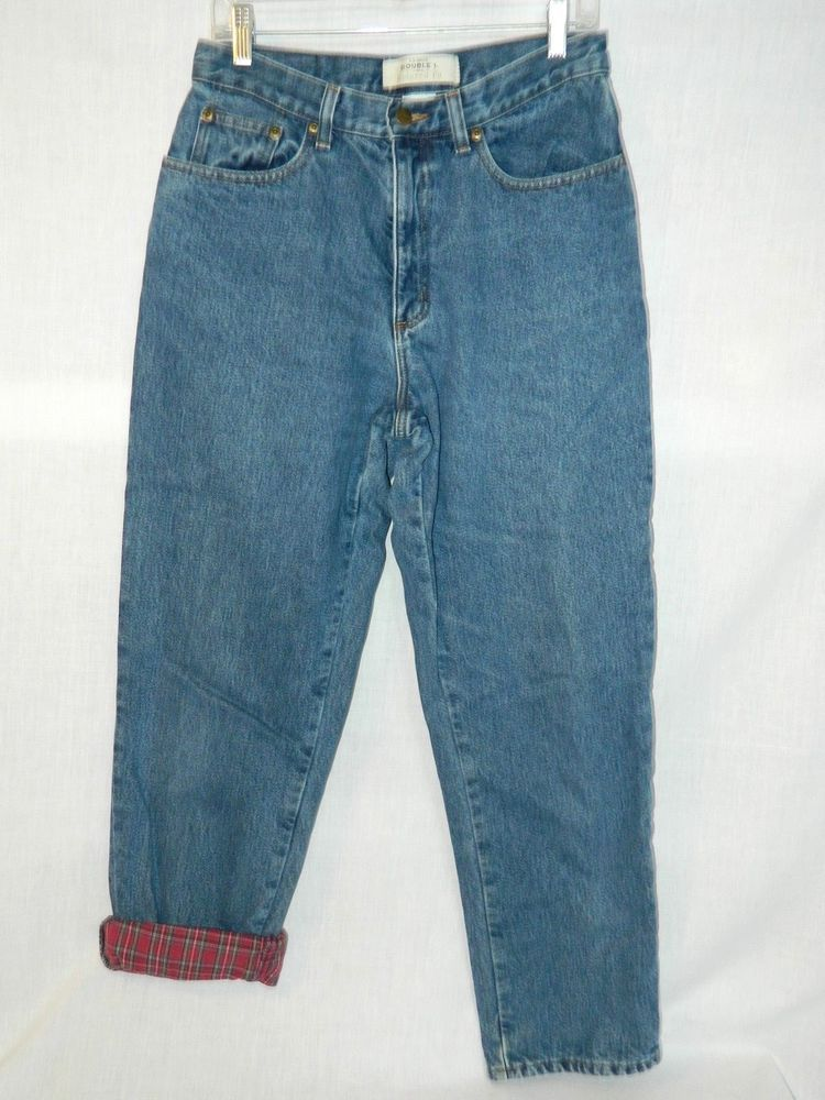 1f25d35d932d3 LL Bean Double L Plaid Flannel Lined Jeans Womens 10 Reg Relaxed Fit 30