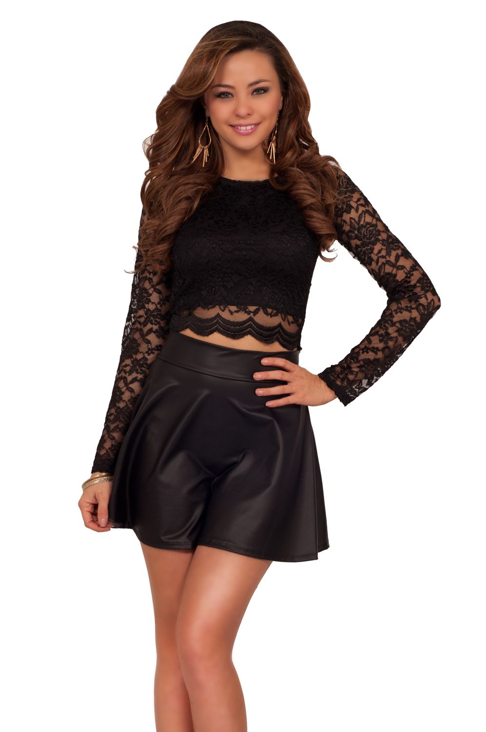 6265dba552358 Sexy-Long-Sleeve-Floral-Lace-Scallop-Hem-Party-Clubwear-Round-Neck-Crop-Top