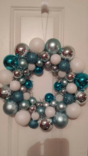 Silver , white and blue bauble wreath.