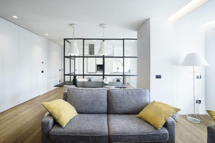 Raumteiler aus Glas stahl loft schlicht möbel graue couch ...