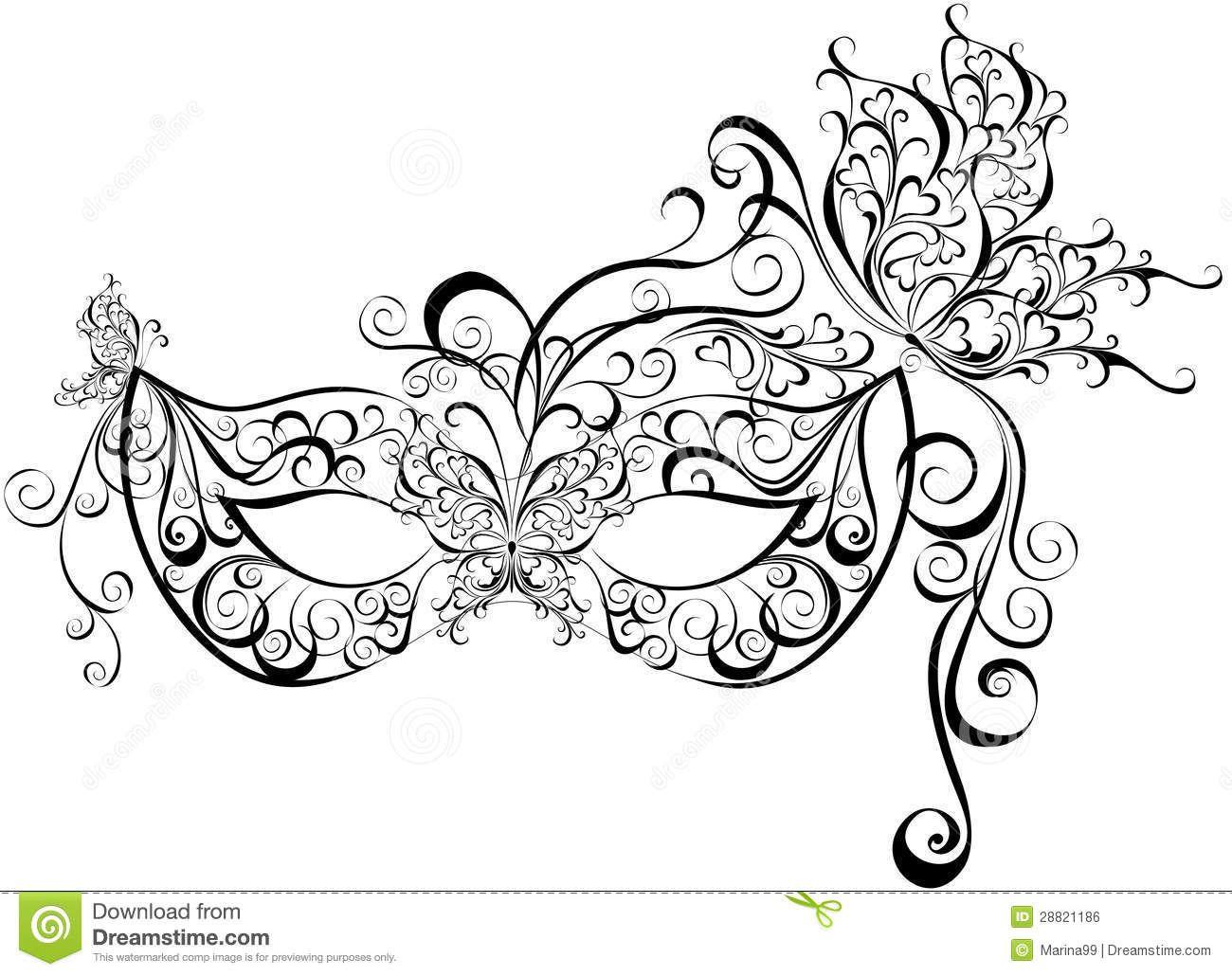 Masques pour une mascarade image libre de droits image 28821186 tatouage iv pinterest - Coloriage masques ...