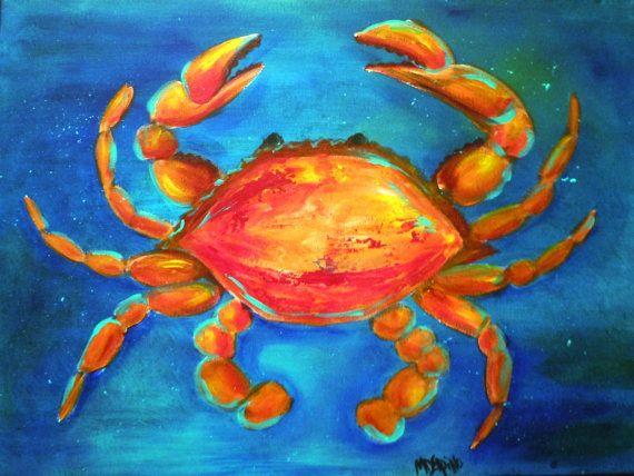 Blue Orange Crab Painting Seashore Ocean Beach Art By Adoraart 65 00 Beach Art Painting Crab Painting Crab Art