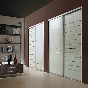 outlet store 6a01c b8166 Wickes Louvre Print Sliding Wardrobe Door SIlver Framed ...