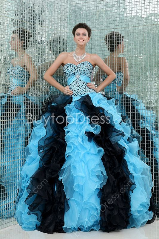 32d32bb8782 Multi-Colored Sweetheart Black and Black Puffy Quinceanera Dresses With  Beaded Bodice at buytopdress.com