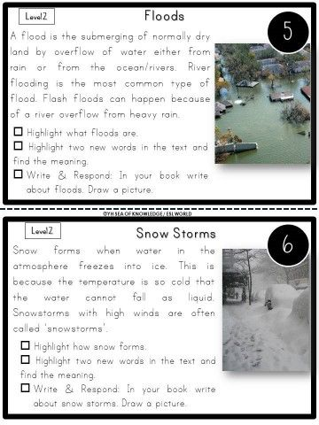 Natural Disasters Differentiated Nonfiction Reading Task Cards K 3 Natural Disasters Natural Disasters Lessons Reading Task Cards