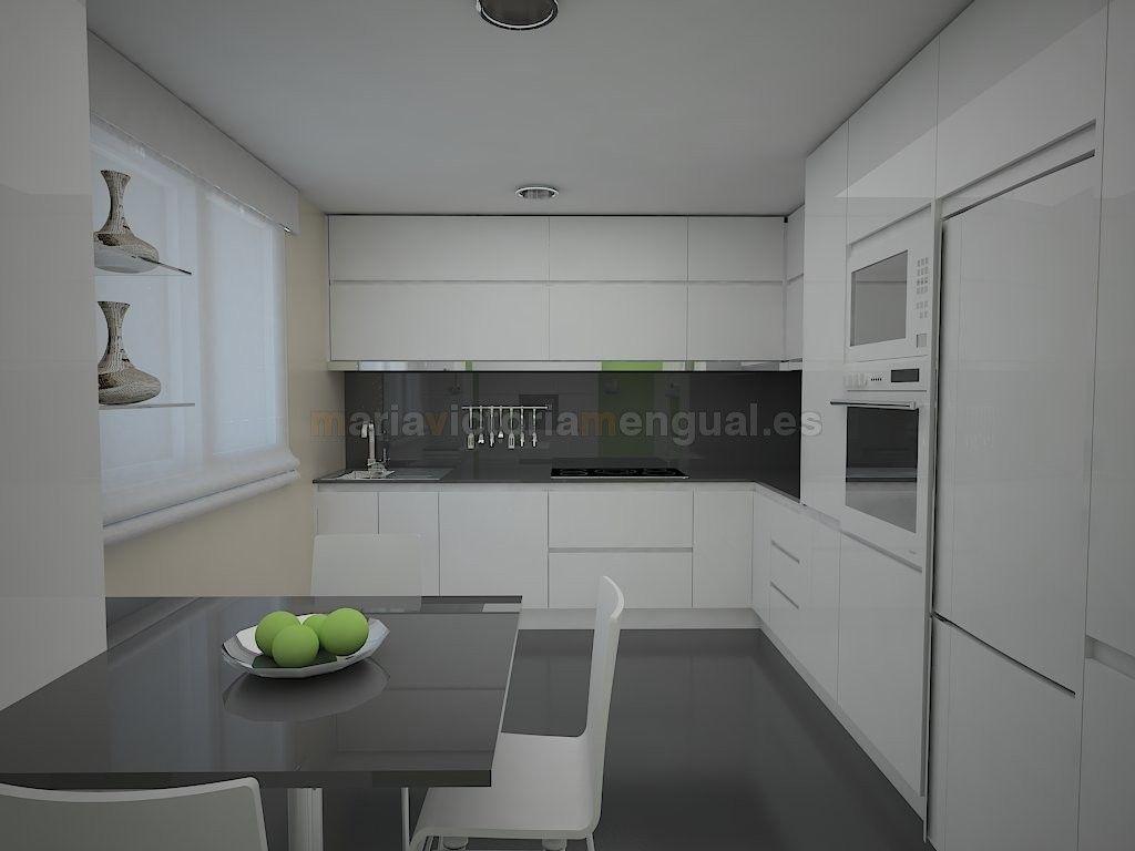 Cocina blanca y gris cocina pinterest kitchens - Cocinas blancas ...