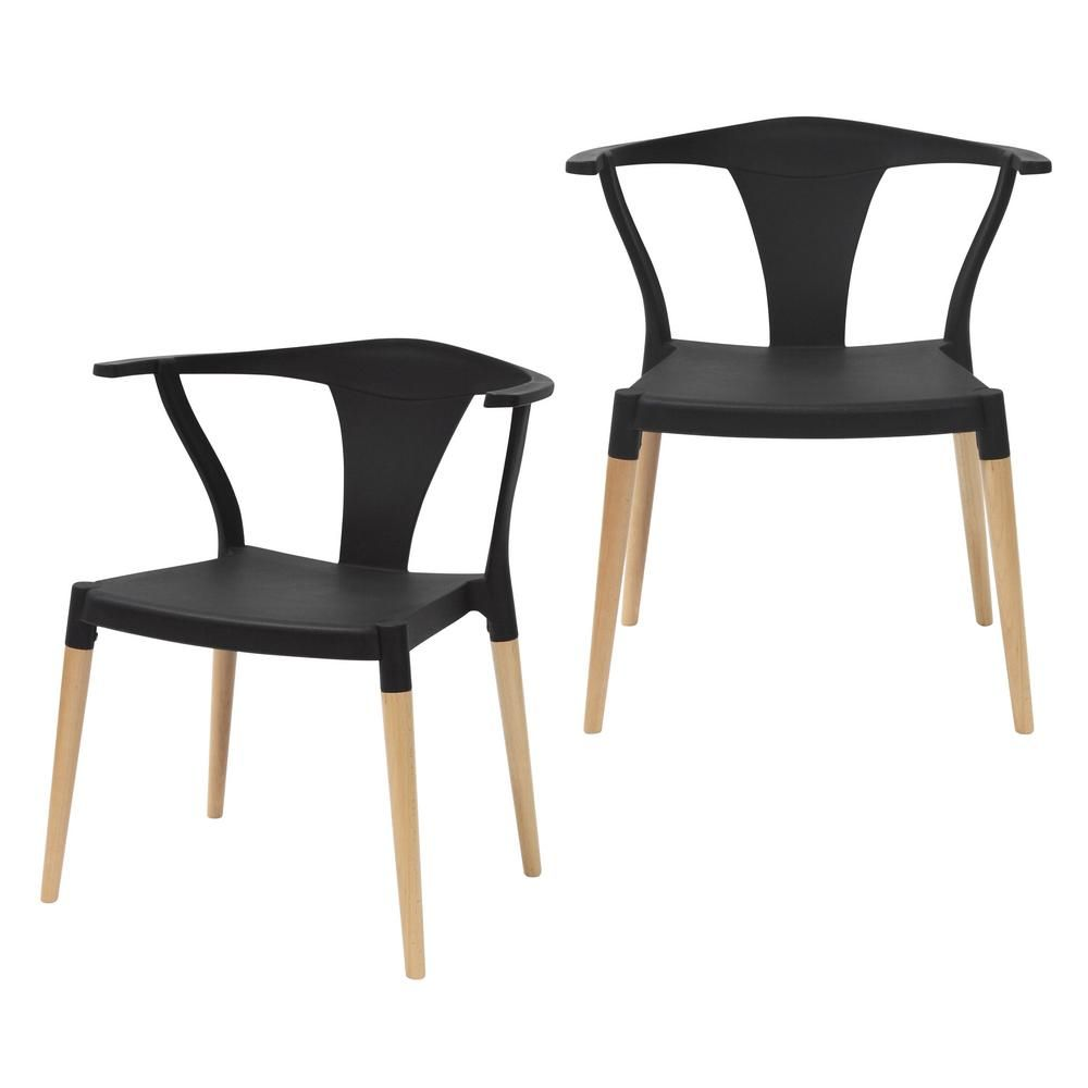 Cozyblock Icon Series Black Modern Accent Dining Arm Chair With