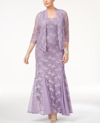 R M Richards Plus Size Lace Gown Jacket Grandmothers