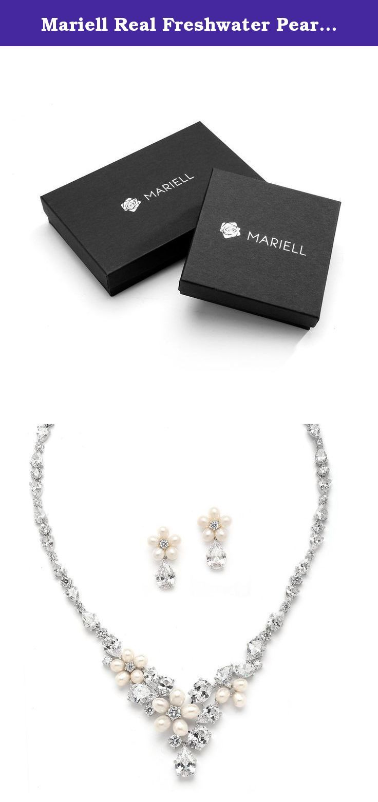 Mariell Real Freshwater Pearls and CZ Formal or Bridal Necklace