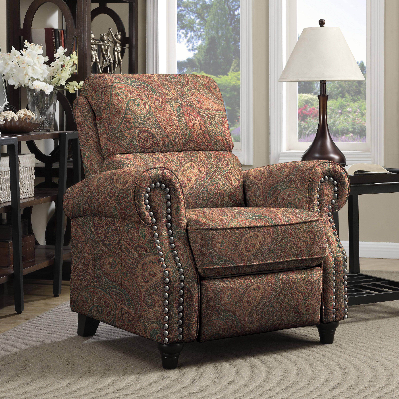 Cheap Recliner Sofas For Sale Triple Reclining Sofa Fabric: Clay Alder Home Klingle ProLounger Paisley Push Back