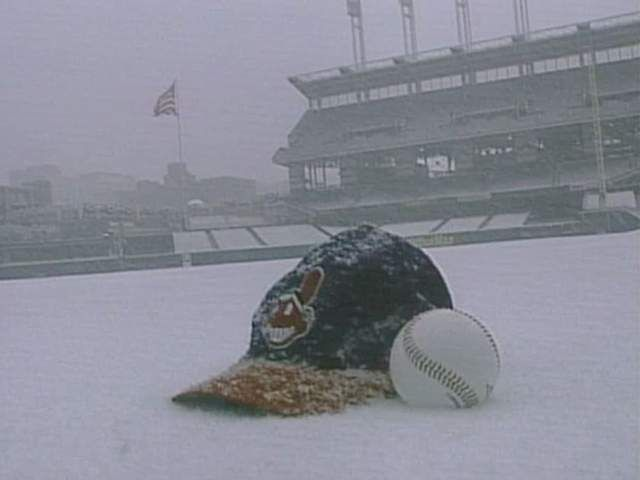 Baseball and snow familiar couple in Cleveland. Indians Opening Day