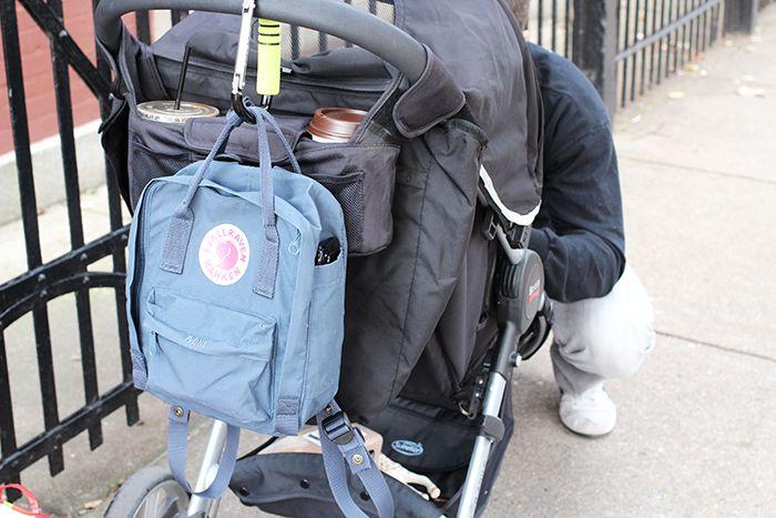 e42c62a31b Kanken Mini Backpack in Uncle Blue hanging on Britax Stroller hook ...