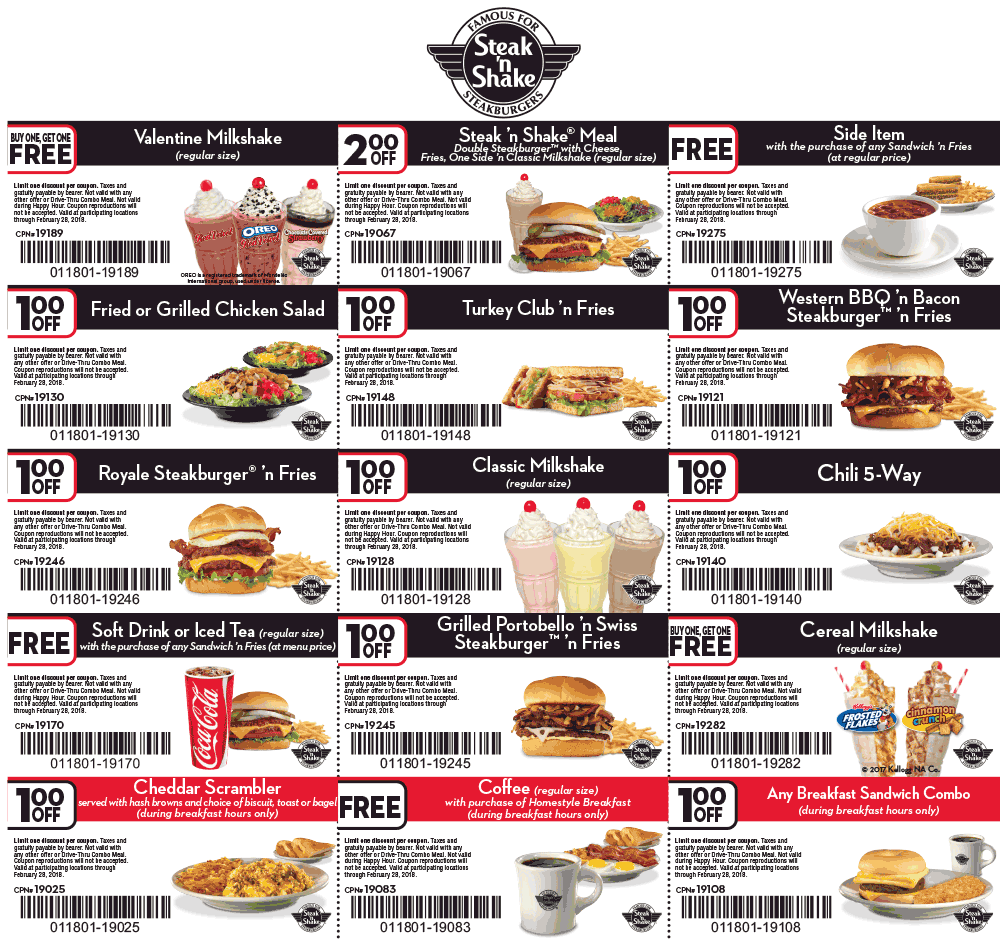 graphic about Steak and Shake Coupons Printable titled Promo Coupon $2 off a dinner, totally free aspect even more