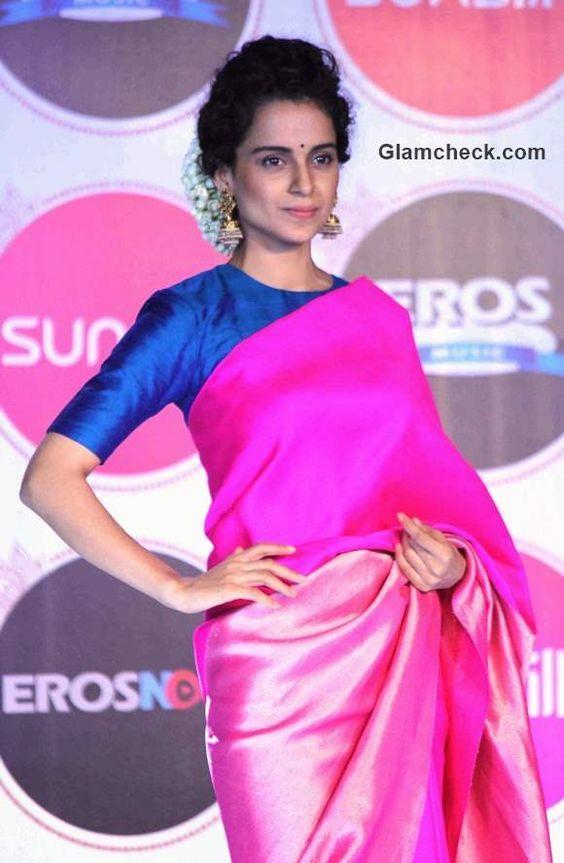 0a321616454dfc Pink Saree - contrast blouse