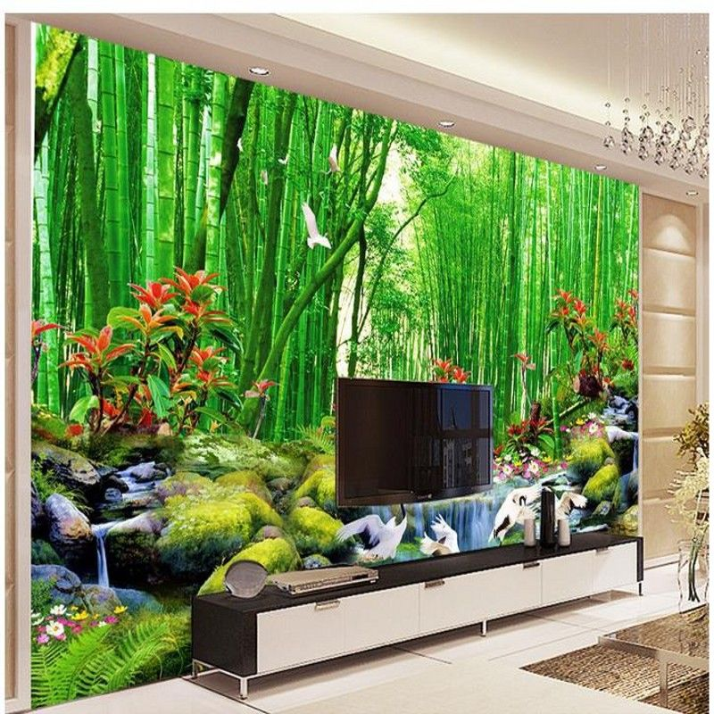 Hd bamboo murals tv backdrop 3d wall murals wallpaper for for Bamboo wallpaper for walls