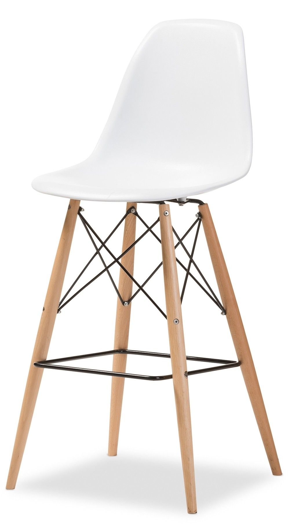 Distinctly Mid Century Modern This Bar Chair Features A White Molded Seat Light Wood Angled Legs And Black Metal Accents Bar Stools Bar Chairs Counter Stools