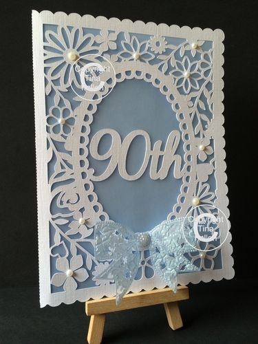 Pretty 90th Birthday Floral Card By Tina Fallon