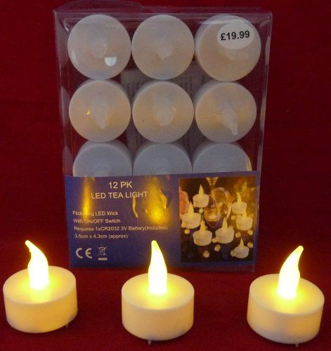 12 Led Flickering Tealight Candles Flameless Tea Light Battery Operated Look Like Real Flicker Wedding