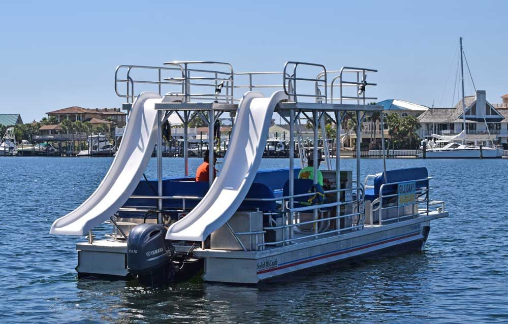 Gilligan S Watersports Is Your Destination For Boating With The Best Equipment And Helpful Service Be Your Ow Pontoon Boat Boat Rental Pontoon Boat With Slide